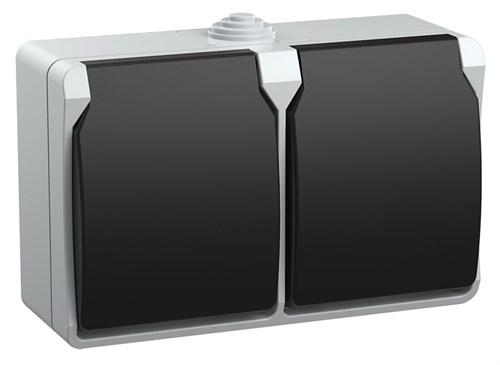 Розетка 2-местная для открытой установки РСб22-3-ФСр с заземляющим контактом ФОРС IP54 IEK - фото 53911