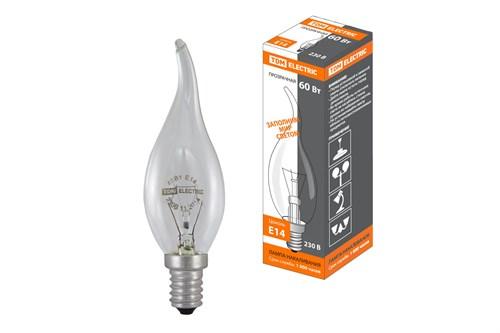 Лампа накаливания  Свеча на ветру  прозрачная 60 Вт-230 В-Е14 TDM - фото 54864