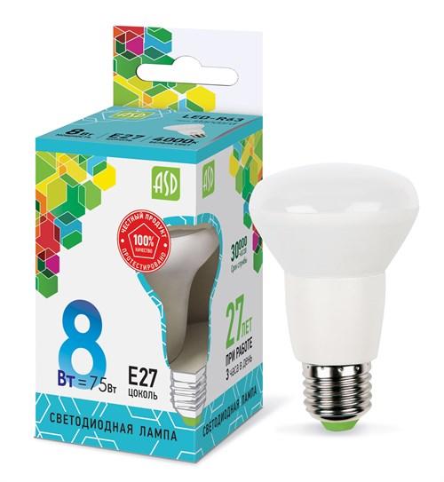 Лампа светодиодная LED-R63-standard 8Вт 230В Е27 4000К 720Лм ASD - фото 55249