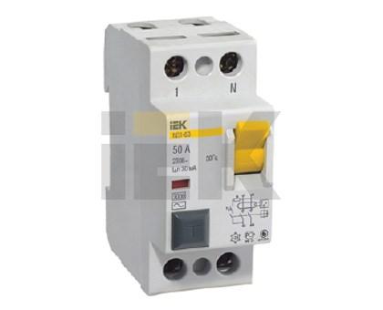 Выключатель дифференциальный (УЗО) ВД1-63 2Р 40А 30мА IEK - фото 58218