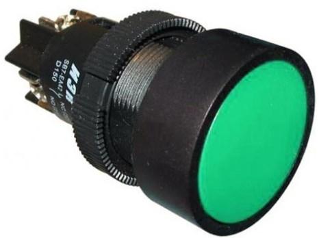 Кнопка SВ-7  Пуск  зеленая 1з+1р d=22мм/240В IEK - фото 59550
