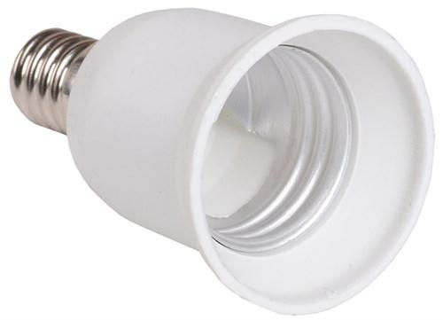 Переходник Е14-Е27 ПР14-27-К02 пластик белый (индивидуальный пакет) IEK - фото 59772