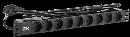 ITK PDU 9 розеток DIN49440 (нем. станд.) 1U, шнур 2м вилка DIN49441 (нем. станд.), алюминиевый профиль, черный - фото 59931