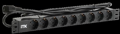 ITK PDU 9 розеток DIN49440 (нем. станд.) 1U, шнур 2м вилка DIN49441 (нем. станд.), профиль из ПВХ, черный - фото 59932