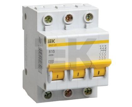 Выключатель автоматический ВА47-29 3Р 6А 4,5кА С IEK - фото 60458