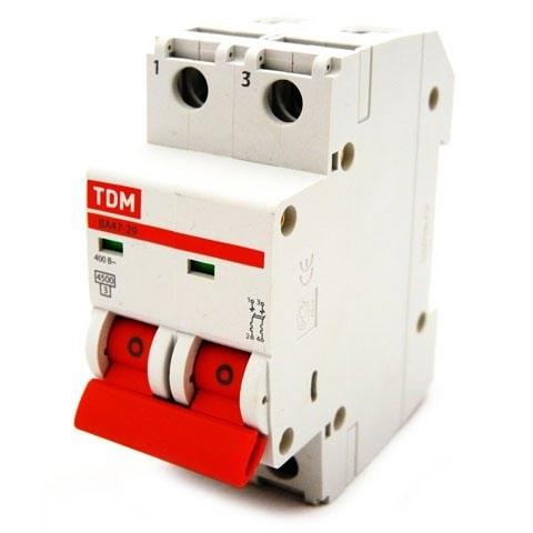 Выкл. автомат.  2П    6А  хар-ка C  4,5кА  TDM  ВА47-29 - фото 60552