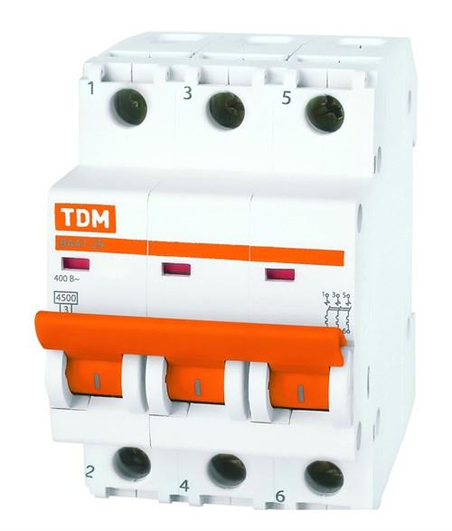 Выкл. автомат.  3П  20А  хар-ка C  4,5кА  TDM  ВА47-29 - фото 60573