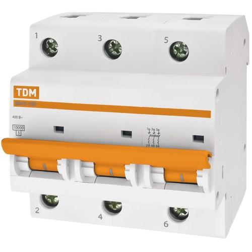 Выкл. автомат.  3П  40А  хар-ка D  10кА  TDM  ВА47-100 SQ0207-0029 - фото 60796