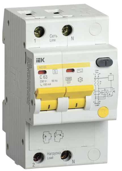 Дифференциальный автоматический выключатель АД12S 2Р 50А 300мА IEK - фото 61975