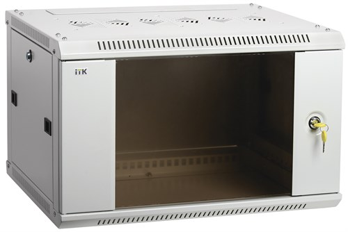 ITK Шкаф настенный LINEA W 15U 600х450мм дверь стекло RAL 7035 - фото 62159