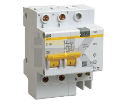 Дифференциальный автоматический выключатель АД12 2Р 10А 30мА IEK - фото 62654