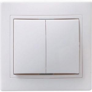 Выключатель 2-клавишный ВС10-2-0-КБ 10А КВАРТА белый IEK - фото 64592
