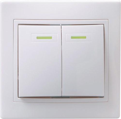 Выключатель 2-клавишный с индикацией ВС10-2-1-КБ 10А КВАРТА белый IEK - фото 64635