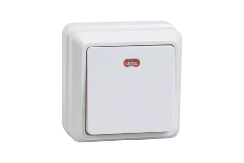 Выключатель 1-клавишный для открытой установки с индикацией ВС20-1-1-ОБ 10А ОКТАВА белый IEK - фото 64636