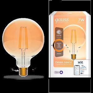 Лампа Gauss Smart Home Filament G95 7W 740lm 2500К E27 диммируемая LED 1/40