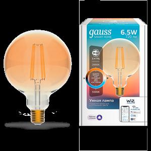 Лампа Gauss Smart Home Filament G95 6,5W 720lm 2000-5500К E27 изм.цвет.темпр.+диммирование LED 1/40