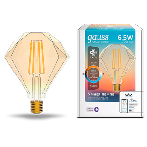 Лампа Gauss Smart Home Filament Diamond 6,5W 720lm 2000-5500К E27 изм.цвет.темпр.+дим. LED 1/40