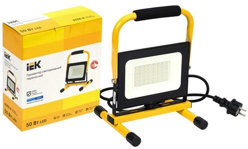 Прожектор LED СДО 06-50П переносной 6500К IP65 черный IEK