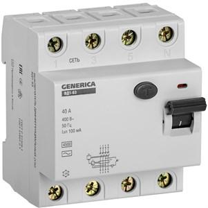 Выключатель дифференциальный (УЗО) ВД1-63 4Р 40А 100мА GENERICA