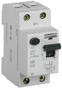 Выключатель дифференциальный (УЗО) ВД1-63 2Р 25А 300мА GENERICA