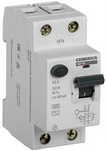 Выключатель дифференциальный (УЗО) ВД1-63 2Р 63А 300мА GENERICA
