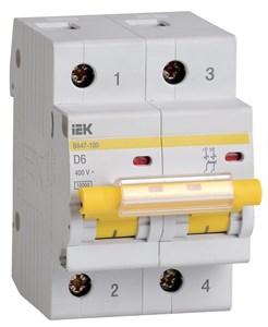 Выключатель автоматический ВА47-100 2P 6А 10кА D IEK