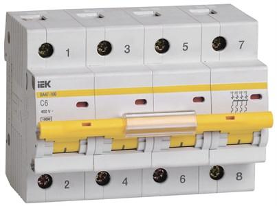 Выключатель автоматический ВА47-100 4P 6А 10кА C IEK