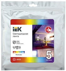 Лента светодиодная 5м LSR-2835RGB54-4,8-IP65-12В IEK