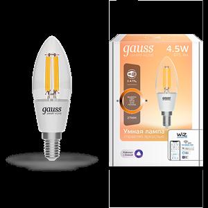 Лампа Gauss Smart Home Filament С35 4,5W 495lm 2700К E14 диммируемая LED 1/10/40