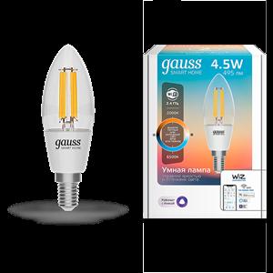 Лампа Gauss Smart Home Filament С35 4,5W 495lm 2000-6500К E14 изм.цвет.темп.+дим. LED 1/10/40
