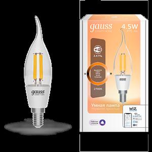 Лампа Gauss Smart Home Filament СF35 4,5W 495lm 2700К E14 диммируемая LED 1/10/40