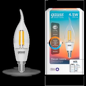 Лампа Gauss Smart Home Filament СF35 4,5W 495lm 2000-6500К E14 изм.цвет.темп.+дим. LED 1/10/40