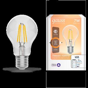 Лампа Gauss Smart Home Filament А60 7W 806lm 2700К E27 диммируемая LED 1/10/40