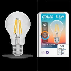 Лампа Gauss Smart Home Filament А60 6,5W 806lm 2000-6500К E27 изм.цвет.темп.+дим. LED 1/10/40