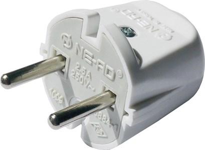 Вилка штепсельная NE-AD 2,5A, 250В , цвет белый