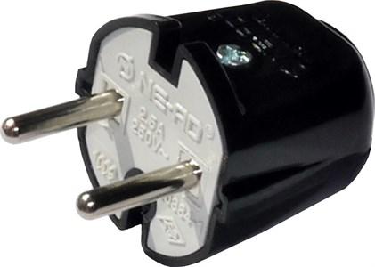 Вилка штепсельная NE-AD 2,5A, 250В , цвет черный