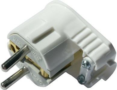 Вилка штепсельная угловая NE-AD c заземлением, UPS, 16A, 250В, цвет белый