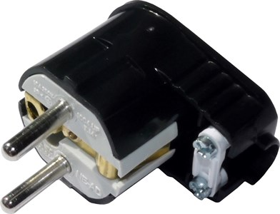 Вилка штепсельная угловая NE-AD c заземлением, UPS, 16A, 250В, цвет черный