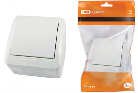 TDM  Селигер Бел. Выкл. 1-кл. ОП IP44 10А SQ1818-0001