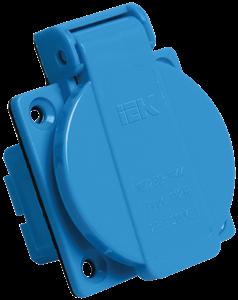 Розетка панельная SCHUKO РП10-3 с крышкой IP44 синий IEK