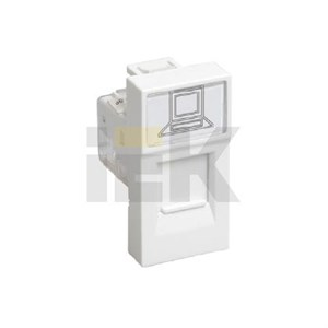 Розетка компьютерная РКИ-10-00-П RJ-45 UTP кат.5e (на 1 модуль) ПРАЙМЕР белая IEK