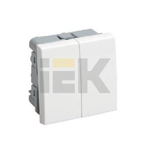 Выключатель двухклавишный ВК1-22-00-П (на 2 модуля) ПРАЙМЕР белый IEK