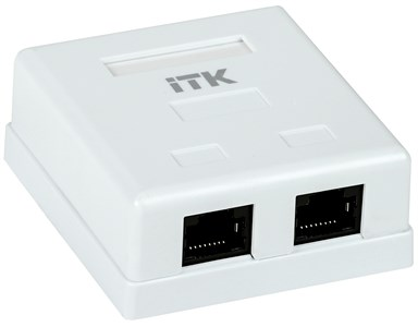 ITK Настенная информационная розетка RJ45 8P8C кат.5E UTP 2-порта белая