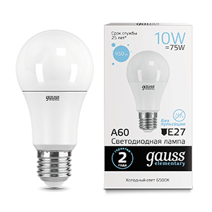 Лампа Gauss Elementary A60 10W 950lm 6500K Е27 LED 1/10/50