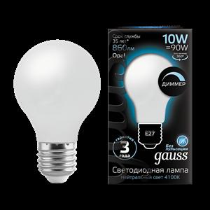 Лампа Gauss Filament А60 10W 860lm 4100К Е27 milky диммируемая LED 1/10/40