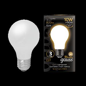 Лампа Gauss Filament А60 10W 820lm 2700К Е27 milky LED 1/10/40