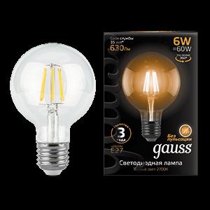 Лампа Gauss Filament G95 6W 630lm 2700К Е27 LED 1/20