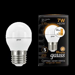 Лампа Gauss Шар 7W 520lm 3000K Е27 шаг. диммирование LED 1/10/100