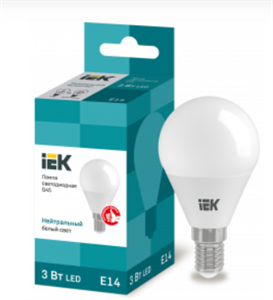 Лампа светодиодная G45 шар 3Вт 230В 3000К E14 IEK
