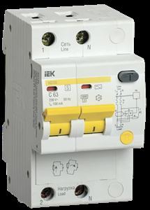 Дифференциальный автоматический выключатель АД12S 2Р 32А 100мА IEK